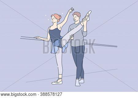 Sport, Training, Practice, Dance Concept. Young Woman Girl Teenager Student Ballet Dancer Practicing