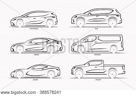 Set Of Vector Car Silhouettes. Side View Of Hatchback, Sedan, Coupe, Suv, Minivan, Pickup
