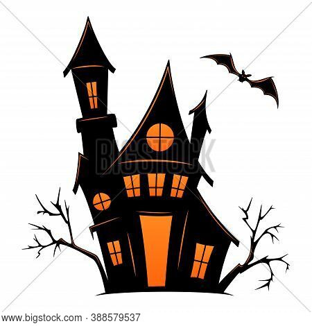 Haunted Old House For Halloween. Vector Silhouette Of Scary Old House. Mystical Spooky House With Mo