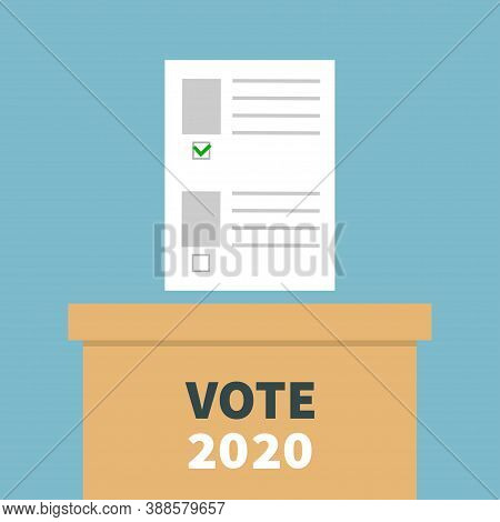 Paper Blank Bulletin With Green Mark Concept. Ballot Voting Box. Polling Station. President Election