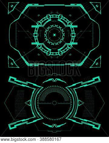 Two Futuristic Sights Or Aim.digital User Interface Screen.vector Illustration.