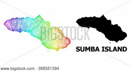 Net And Solid Map Of Sumba Island. Vector Structure Is Created From Map Of Sumba Island With Interse
