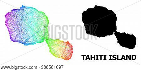 Network And Solid Map Of Tahiti Island. Vector Structure Is Created From Map Of Tahiti Island With I