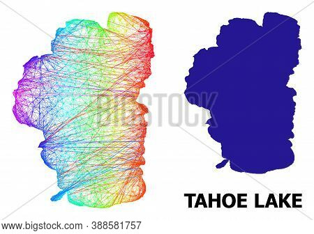 Wire Frame And Solid Map Of Tahoe Lake. Vector Model Is Created From Map Of Tahoe Lake With Intersec