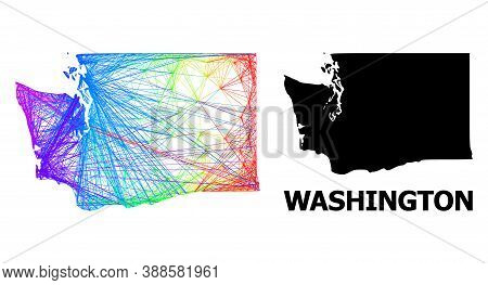 Network And Solid Map Of Washington State. Vector Model Is Created From Map Of Washington State With