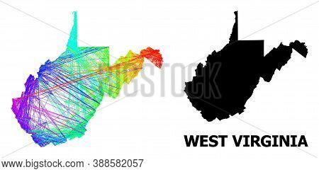 Net And Solid Map Of West Virginia State. Vector Structure Is Created From Map Of West Virginia Stat