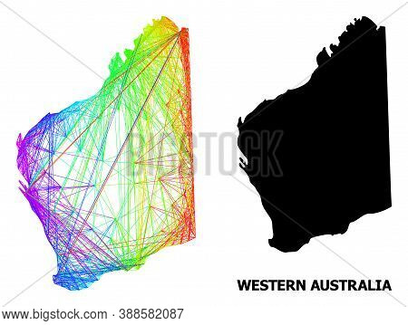Wire Frame And Solid Map Of Western Australia. Vector Model Is Created From Map Of Western Australia