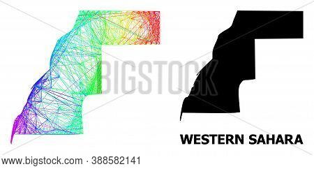 Wire Frame And Solid Map Of Western Sahara. Vector Structure Is Created From Map Of Western Sahara W