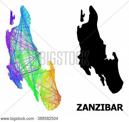Network And Solid Map Of Zanzibar Island. Vector Structure Is Created From Map Of Zanzibar Island Wi