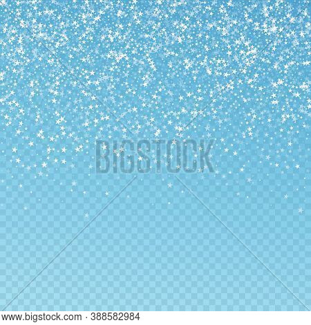 Amazing Falling Stars Christmas Background. Subtle Flying Snow Flakes And Stars On Blue Transparent