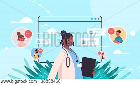 African American Doctor In Web Browser Window Consulting Patients Online Medical Consultation Health