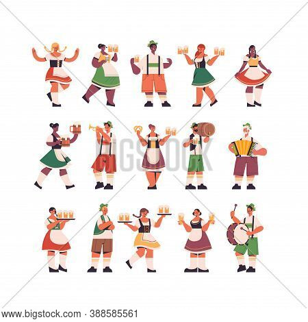 Set Mix Race Waiters Holding Beer Mugs Oktoberfest Party Celebration Concept Happy People In German