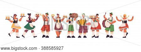Set Mix Race Waiters Holding Beer Mugs Oktoberfest Party Celebration Concept People In German Tradit