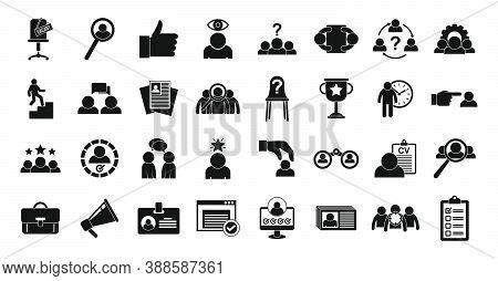 Recruiter Icons Set. Simple Set Of Recruiter Vector Icons For Web Design On White Background