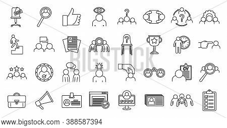 Recruiter Agency Icons Set. Outline Set Of Recruiter Agency Vector Icons For Web Design Isolated On