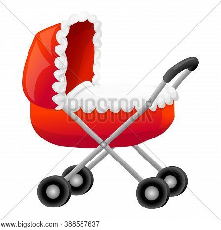 Red Waterproof Pram Icon. Cartoon Of Red Waterproof Pram Vector Icon For Web Design Isolated On Whit