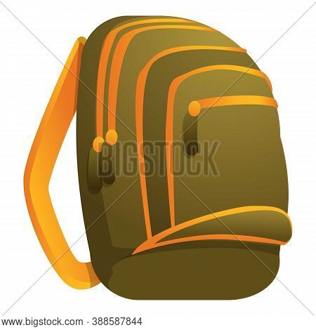 Camo Backpack Icon. Cartoon Of Camo Backpack Vector Icon For Web Design Isolated On White Background