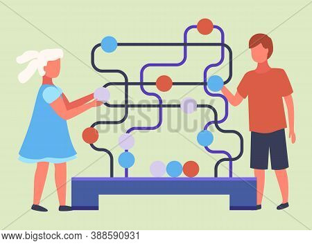 Kids Learning Game. Cartoon Illustration Of Paths Or Maze Puzzle Activity Game. Children Boy And Gir