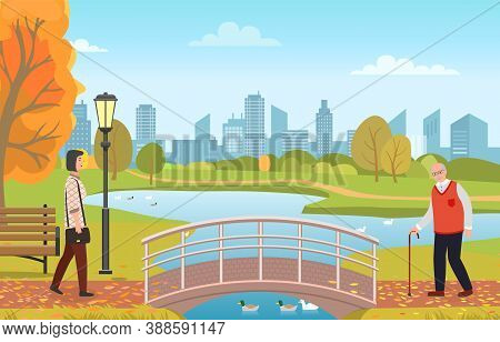 Grandpa With Walking Stick And Woman In City Park Vector Illustration. People In Autumn Landscape. W