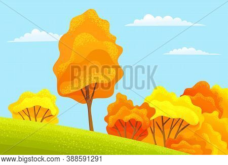 Autumn Season Cartoon Country Landscape With High Trees, Lush Bushes Grow On A Slope, Green Field Or