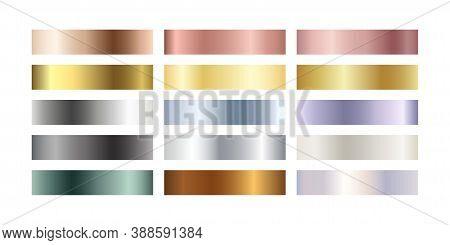 Metal Chrome Gradient Color Set. Metallic Rose Gold, Bronze, Silver, Elegant Pearl, Midnight Green,