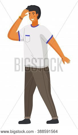 Young Handsome Smiling Man In Casual Modern Clothes Like Shirt And Pants Flat Vector Illustration. G