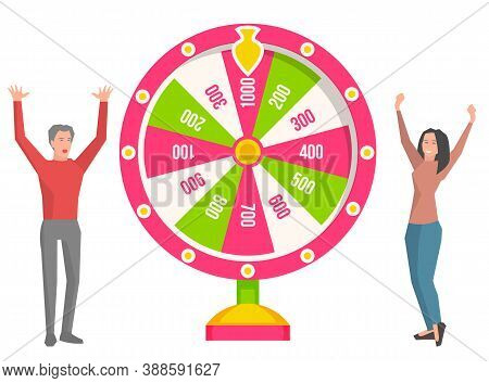 Game Fortune Wheel Concept. People Playing Risk Game With Fortune Wheel And Lottery. Illustration Of
