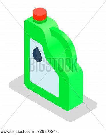 Fuel Container Jerrycan. Gasoline Canister Vector Illustration Isolated On White Background. Plastic