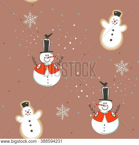 Hand Drawn Vector Abstract Fun Stock Flat Merry Christmas, And Happy New Year Time Cartoon Festive S