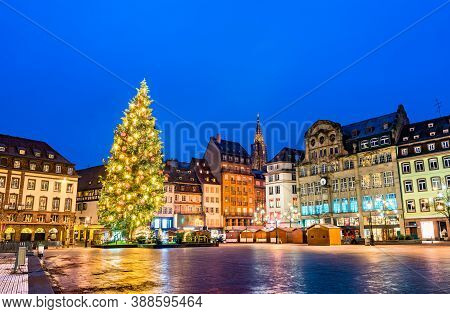 Christmas Tree At The Famous Christmas Market In Strasbourg At Night - Alsace, France