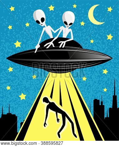 Illustration With Extraterrestrial Aliens Abducting A Person At Night