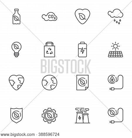Eco Energy Line Icons Set, Outline Vector Symbol Collection, Linear Style Pictogram Pack. Signs, Log