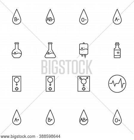Hematology Line Icons Set, Outline Vector Symbol Collection, Linear Style Pictogram Pack. Signs Logo