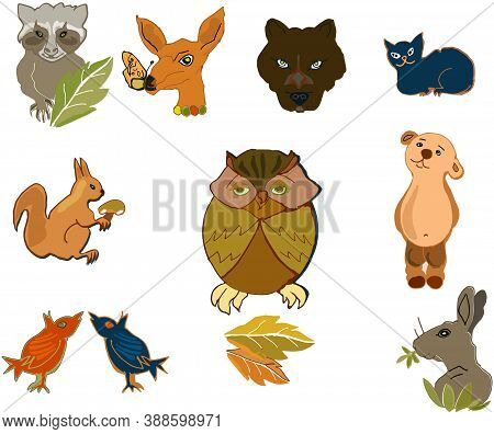 Figurins of funny animals and autumn leaves, vector graphics, simple style