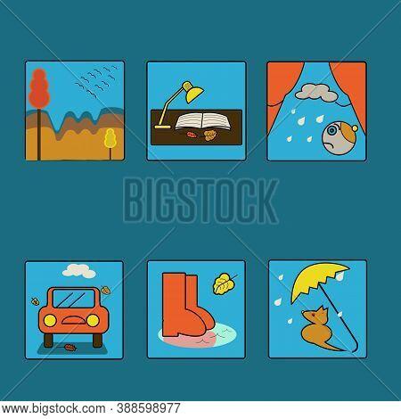 Autumn theme icons, simple shapes, primitives, blue, yellow, orange colors