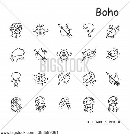 Boho Elements Line Icons Set. Protective Tribal Symbols. Indian Magic, Shamanism. Oriental, Ethnic E