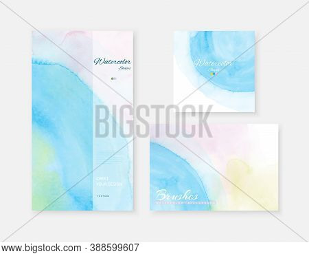 Creative Abstract Template Background Set With Shape Brush Bright Blue Color Watercolor Stains.  Art