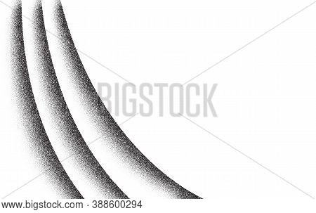 Dotwork Wave Pattern Vector Background. Black Noise Stipple Dots. Sand Grain Effect. Wave Dots Grung