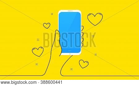 Hand Holding Phone With Love Hearts. Smartphone Screen On Yellow Background. Continuous Line Hand Wi