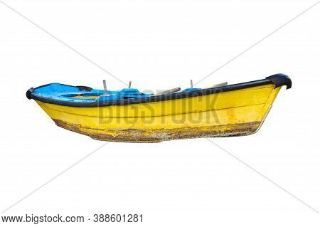 Yellow Wooden Fishing Boat Isolated On White Background