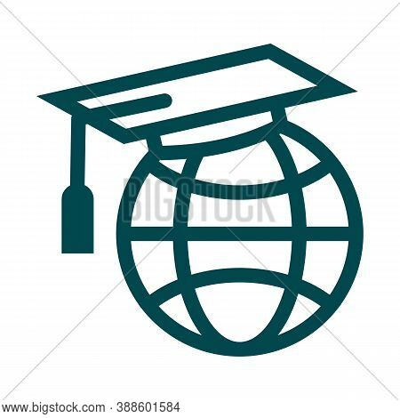 Graduate Cap On Globe. World Knowledge Concept Icon. Symbol Of Worldwide Learning, Online Education