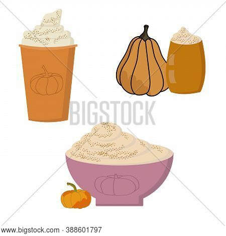 Pumpkin Spice Drinks Set, Seasonal Trendy Hot Pumpkin Latte In Paper Or Glass And Cup, Vector Illust