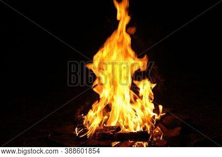 Fire Campfire On A Dark Background