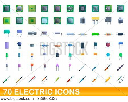 70 Electric Icons Set. Cartoon Illustration Of 70 Electric Icons Vector Set Isolated On White Backgr