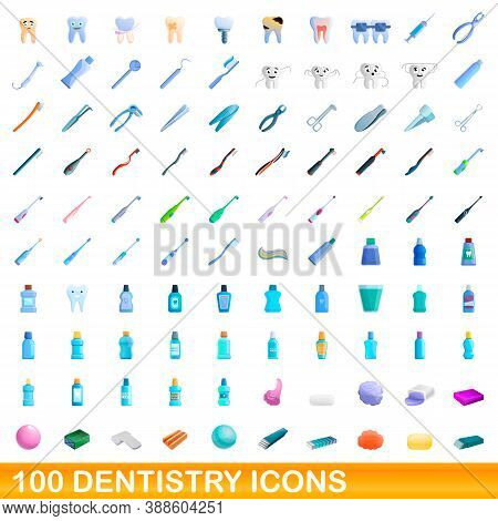 100 Dentistry Icons Set. Cartoon Illustration Of 100 Dentistry Icons Vector Set Isolated On White Ba