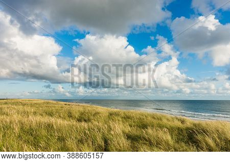 Beach With Sand Dunes And Marram Grass, Blue Sky And Clouds In Soft Evening Sunset Light. Hvidbjerg