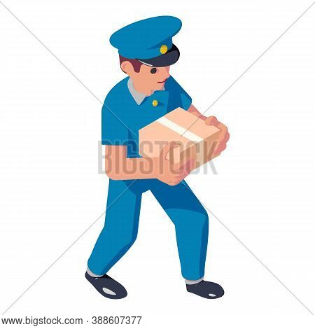 Postman Parcel Delivery Icon. Isometric Of Postman Parcel Delivery Vector Icon For Web Design Isolat