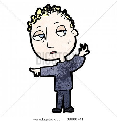 cartoon boy pointing the way