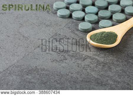 Spirulina Powder And Pills - Spirulina. Text Space