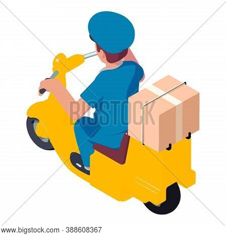 Mailman Scooter Parcel Delivery Icon. Isometric Of Mailman Scooter Parcel Delivery Vector Icon For W